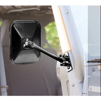 QUICK RELEASE MIRRORS, PAIR, BLACK, RECTANGULAR; 97-17 JEEP WRANGLER