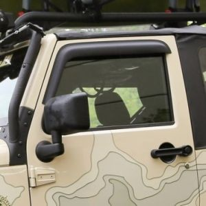 WINDOW VISORS, MATTE BLACK, 07-14 JEEP 2-DOOR WRANGLER