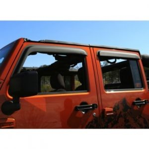 WINDOW VISORS, MATTE BLACK, 07-14 JEEP 4-DOOR WRANGLER
