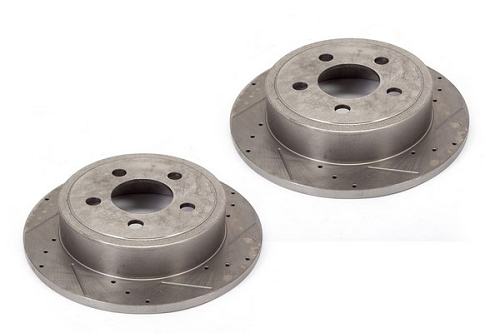 DISC BRAKE ROTORS (2)REAR, DRILLED AND SLOTTED; 07-16 JEEP WRANGLER JK