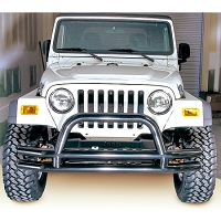 3-INCH DOUBLE TUBE FRONT BUMPER WITH HOOP, 76-06 JEEP CJS AND WRANGLER