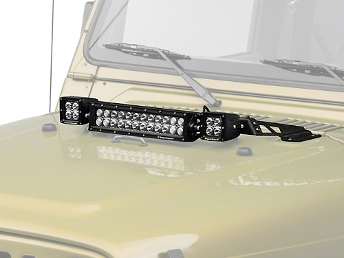HOOD LIGHT BAR KIT, BLACK, 2X3
