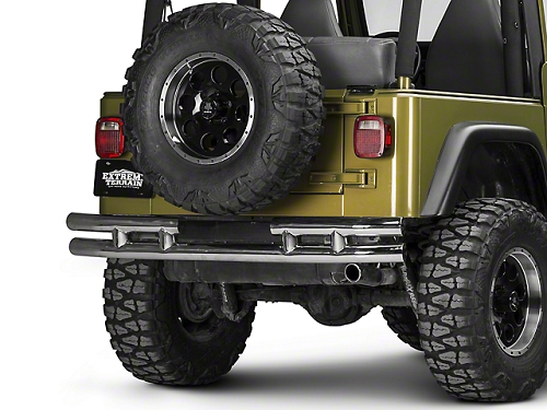 3-In Dbl Tube Rear Bumper, SS, 87-06 Wrangler