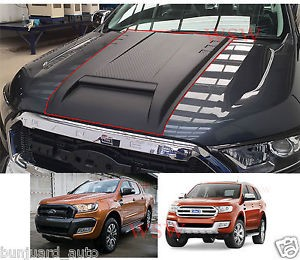 FORD RANGER BONNET SCOOP black